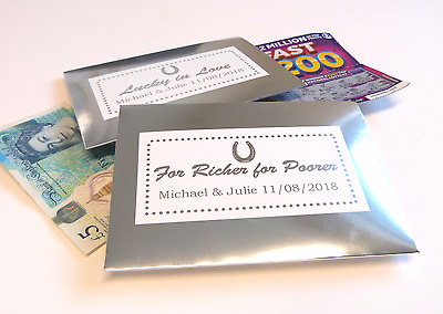 £4.49 • Buy 10 Silver Personalised Money Envelopes Favour Wedding Lottery Ticket Scratchcard