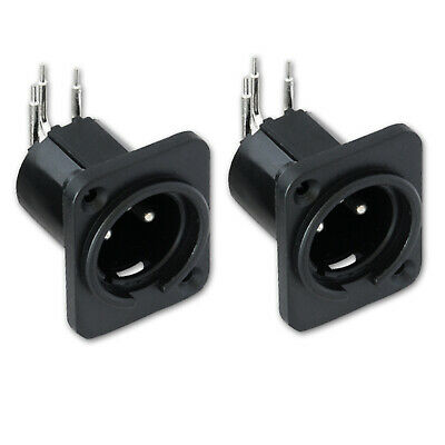 2Pcs XLR 3 Pin Panel Mount Male Chassis Socket Connector • 2.19£