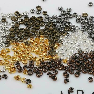 $ CDN1.94 • Buy 100Pcs 4MM End Crimp Beads Knot Covers Jewelry Finding Craft Gold/Silver/Bronze
