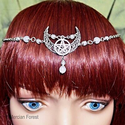 Ornate Crescent Moon Pentacle Headdress - Pagan Jewellery, Wicca, Goddess, Witch • 11£