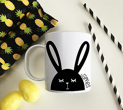 Personalised Black Bunny Plastic Mug Children's Easter Gift Juice Cup Any Name • 10.99£