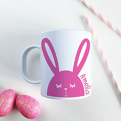 £10.99 • Buy Personalised Pink Bunny Plastic Mug Children's Easter Gift Juice Cup Any Name