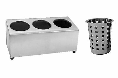 AU94.95 • Buy NEW Stainless Steel Cutlery Holder 3 Holes W/ Caddy Cylinder Utensils Basket