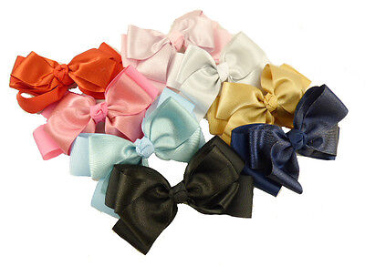 £5.95 • Buy Large Bow Hair Clips Sparkly Glitter Double Bow Beak Clip In Various Colour