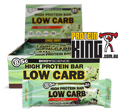 AU49.95 • Buy BSC HIGH PROTEIN LOW CARB BARS 12 X 60G CHOC MINT 1 BOX BODY SCIENCE YUM OH YEAH