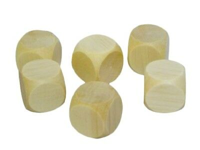 £9.99 • Buy 10x Wooden Plain Dice Dices Cube Cubes Blank Plain Unpainted Wood Six Sided 30mm