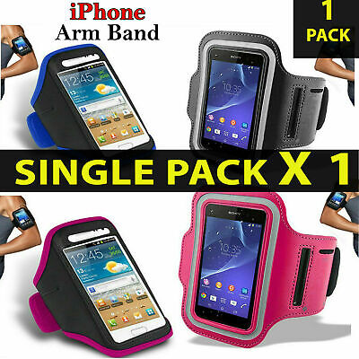 Quality Sports Armband Gym Running Phone Case Cover+In Ear Headphones✔Black • 6.95£
