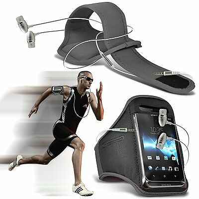 Quality Sports Armband Gym Running Phone Case Cover+In Ear Headphones✔Grey • 6.95£