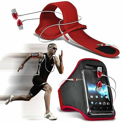 Quality Sports Armband Gym Running Phone Case Cover+In Ear Headphones✔Red • 6.95£