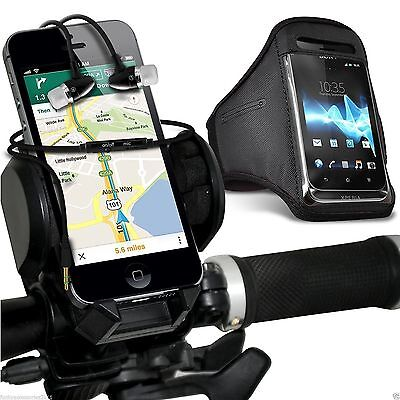 Quality Bike Bicycle Holder+Sports Armband Case Cover+In Ear Headphones✔Black • 12.95£