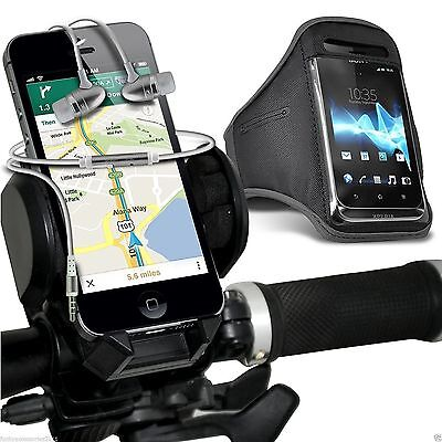 Quality Bike Bicycle Holder+Sports Armband Case Cover+In Ear Headphones✔Grey • 12.95£