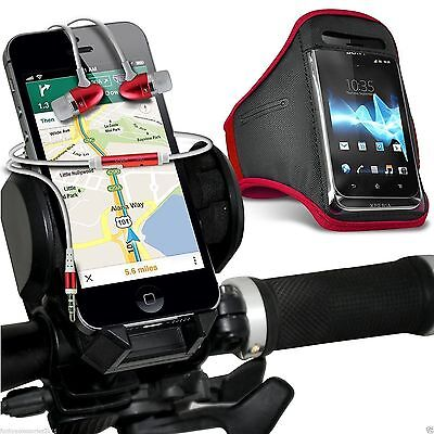 Quality Bike Bicycle Holder+Sports Armband Case Cover+In Ear Headphones✔Pink • 12.95£