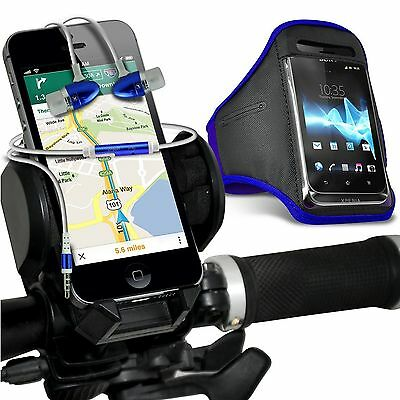 Quality Bike Bicycle Holder+Sports Armband Case Cover+In Ear Headphones✔Blue • 12.95£