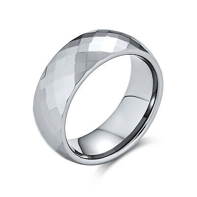 $20.99 • Buy Couples Faceted Diamond Cut Wedding Band Titanium Rings For Men 8MM