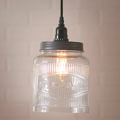 $63.95 • Buy LARGE Ribbed Mason Jar Pendant Light  Solid Glass 18 Foot Cord Dimmer Switch