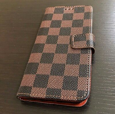 $ CDN12 • Buy For Samsung Galaxy S8 - Card Wallet Diary Pouch Phone Case Brown Checker Plaid