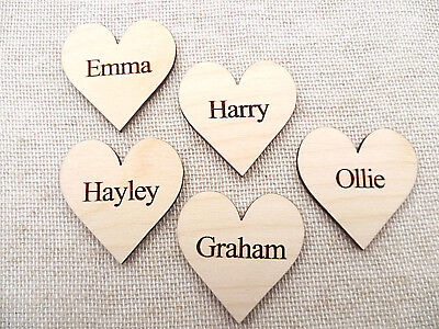 £4.85 • Buy Wooden Personalised Hearts For Family Tree Wedding Guestbook 4cm Hearts Engraved