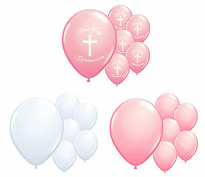 30 X 1st Holy Communion Pink & White Helium Quality Balloons Party Decorations • 5.99£