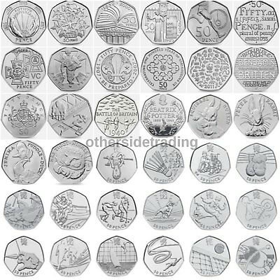 Rare & Valuable UK 50p Pence Coins Circulated Beatrix Potter London Olympics WWF • 2.69£