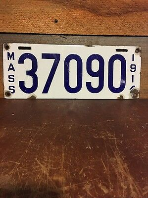 $ CDN400.01 • Buy Antique Massachusetts  License Plate. 1914 Porcelain Enamel/ Metal ING-RICH MFG
