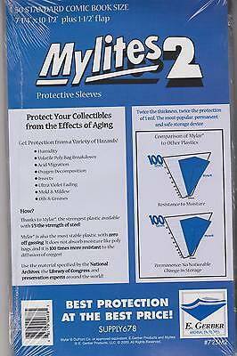 $21.99 • Buy 50 E. Gerber Mylites 2 Mil Mylar Thick Standard Comic Book Bags Sleeves 725 M2