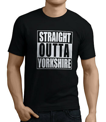 Straight Outta Yorkshire Men's Funny T-Shirt 14 Colors Sizes Small To XX-Large. • 8.99£