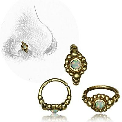 AU15.31 • Buy 20g Tribal Brass Nose Ring 7mm Ring Nose Stud Helix Faux White Opal Stone Hoop