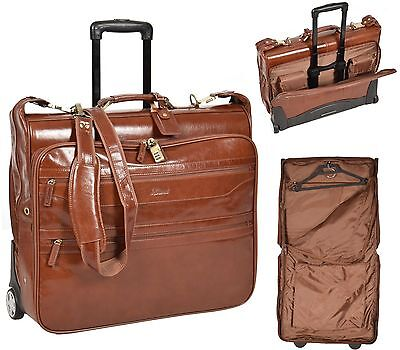 Real TAN Leather Suit Carrier Travel Weekend Bag On Wheels Telescopic Handle New • 299£