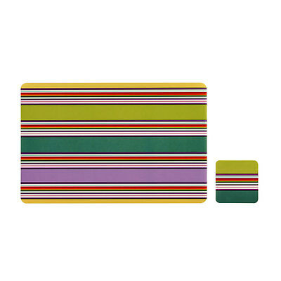 £6.99 • Buy Colour Stripe Set Of 4 Placemats And Coasters Coffee Dining Table Tableware Mats