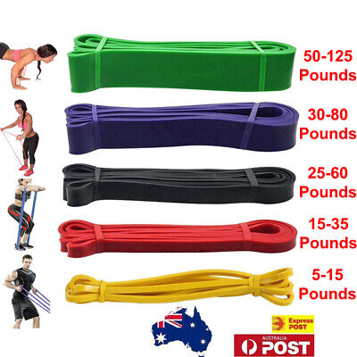 AU36.99 • Buy Set Of 5 Heavy Duty Resistance Band Loop Power Gym Fitness Exercise Yoga Workout