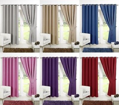 Thermal RING TOP EYELET  Blackout PAIR Curtains Ready Made Fully Lined Tiebacks • 31.95£