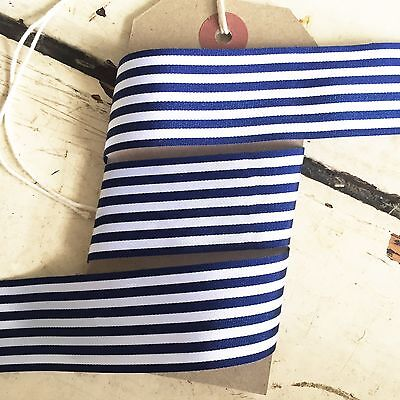 £2.25 • Buy Navy Blue And White Nautical Stripe Ribbon 25mm Per 1M Or *SAVE* With 25M Roll