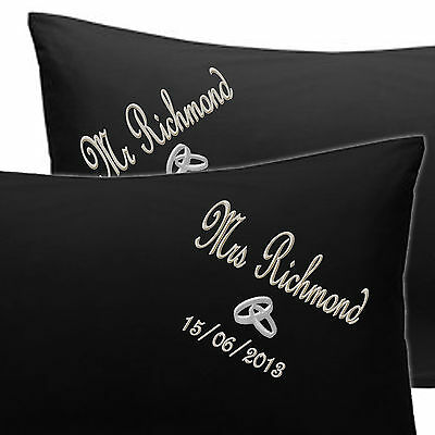 Personalised Pillow Cases EMBROIDERED Mrs & Mrs Wedding Gift OR CHOOSE YOUR TEXT • 19.99£