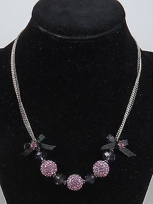 Betsey Johnson Iconic Celestial Purple Pink Pave' Ball Frontal Necklace $58 • 21.99$