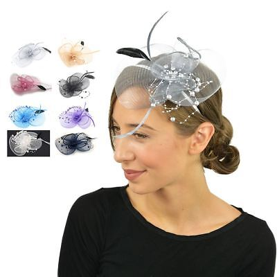 Feather Beak Clip Fascinator With Pearls Ladies Day Races Wedding Royal Ascot • 5.99£