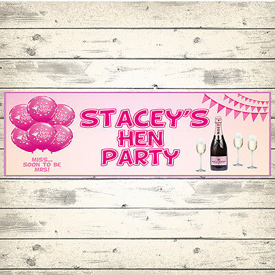 £3.99 • Buy 2 PERSONALISED 800mm X 297mm HEN PARTY BANNERS - ANY MESSAGE - ANY NAME