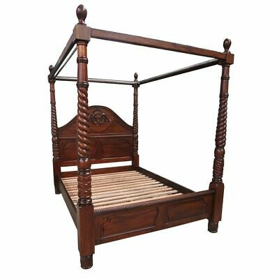 AU2925 • Buy Solid Mahogany Victorian 4 Poster Canopy Bed Antique Style Bedroom Furniture