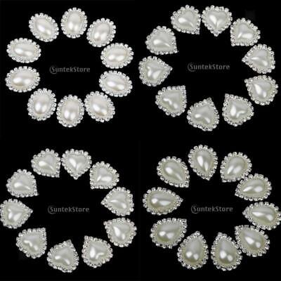 £4.09 • Buy 10pcs Crystal Diamante Pearl Buttons Flatback Embellishment For Wedding Craft