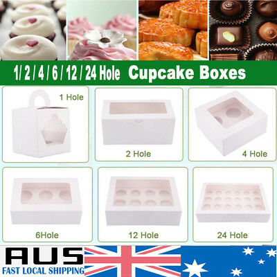 AU22.98 • Buy Cupcake Box Cases 1 Hole 2 Hole 4 Hole 6 Hole 12 Hole 24 Hole Window Face Gift