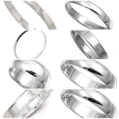 Sterling Silver 925  Rings 2mm,3mm,4mm,6mm,8mm Band Width Sizes G-Z Curve Flat  • 7.49£