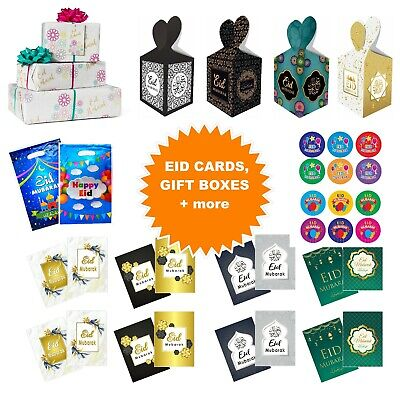 Happy Eid Mubarak Cards Bags Boxes Gift Wrapping Paper Stickers Badges Kids Gold • 2.99£