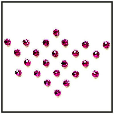 £3.49 • Buy *Add-On 3mm Dot Crystals  24 Dark Pink Adhesive Based Gems Hands Eyes Face Body
