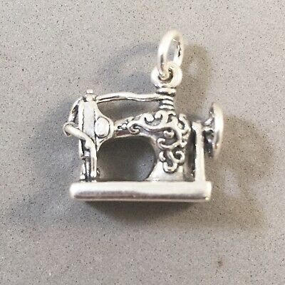 $13 • Buy .925 Sterling Silver 3-D ANTIQUE STYLE SEWING MACHINE CHARM Pendant 925 HB17