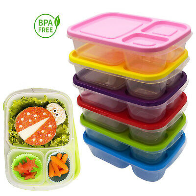 Plastic Lunch Box Food Container Set Bento Lunch Boxes With 3-Compartment  • 7.99£