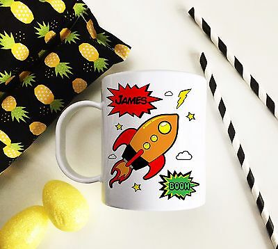 Personalised Rocket Plastic Mug Children's Birthday Gift Juice Cup Any Name • 10.99£