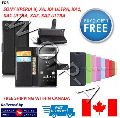 $ CDN6.99 • Buy Fits Sony Xperia X XA XA1 XA2 Ultra XZ1 New Flip Cover Wallet Leather Phone Case