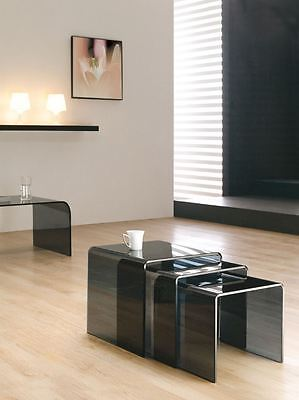 Black Curved Glass Nest Of Tables Set Of 3 Milan Smoked Design • 119£