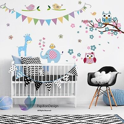 Cherry Flower Owl Giraffe Elephant Nursery Kid Baby Girl Boy Wall Decal Sticker  • 12.99£
