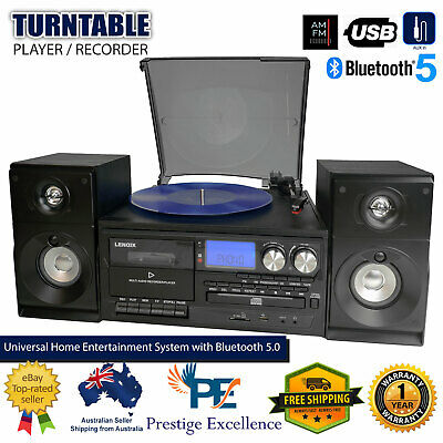 AU276.95 • Buy Stereo System Turntable Vinyl Record Player W/ Dual Cassette Recorder USB CD MP3