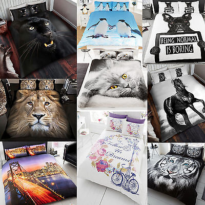 New Duvet Cover Bed Set 3D Animal Printed Quilt Bedding King Single Double Sizes • 17.85£